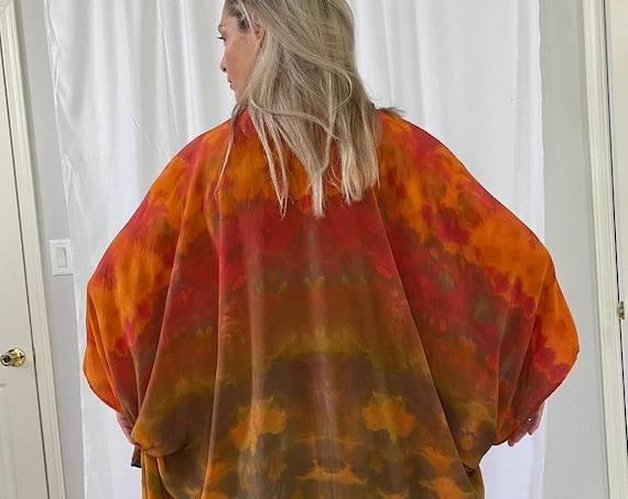 Silk cape or shoulder wrap, red, gold, brown, crepe de chine