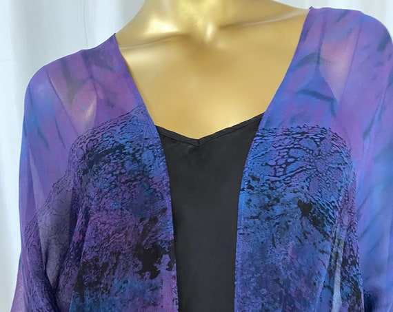 silk kimono jacket, hand dyed, one of a kind, shibori, blue, purple and black