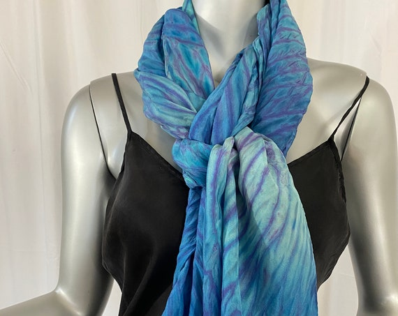Large silk scarf, shoulder wrap, rectangular, Blues, Arashi Shibori dyed