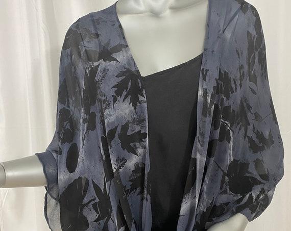 silk kimono jacket, chiffon, black, charcoal, autumn leaves
