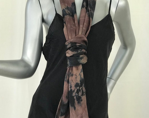 Brown silk scarf, charmeuse, shibori ,dyed beige, brown and black
