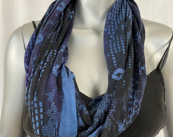 Infinity scarf, light cotton jersey, hand dyed and silk screen printed, blue and black