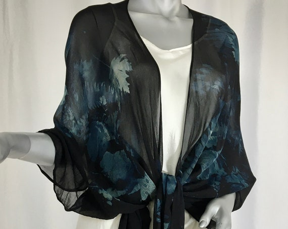 silk kimono jacket, chiffon, hand-dyed and screen printed with fall leaves, black
