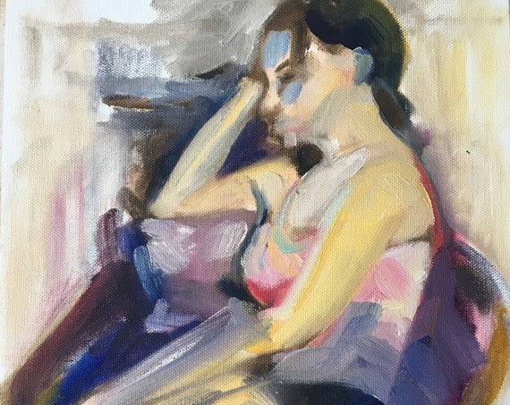 """Oil painting study of seated woman after a hard day at work, original artwork, 9x12"""""""