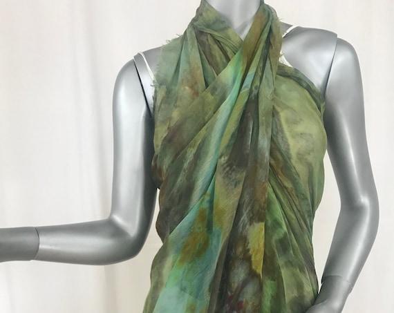 Modal silk large scarf, wrap, shibori hand dyed , green