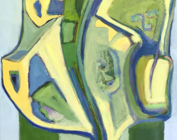 Large Original oil painting, Abstract, Green, Yellow, Blue