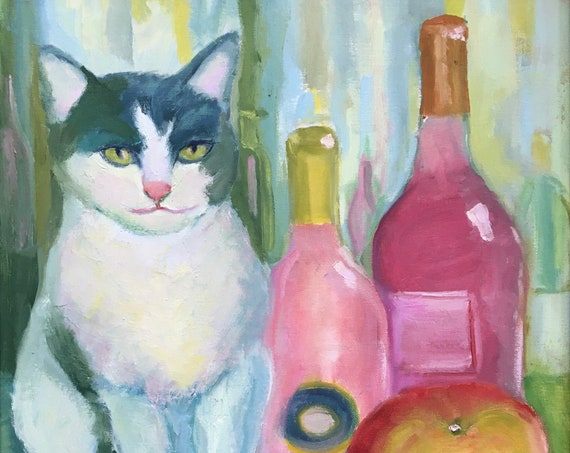 Cat jpg, vertIcal digital download, still life, oil painting jpg, artwork jpg, painting jpg, wall art, wine bottles, rosé wine