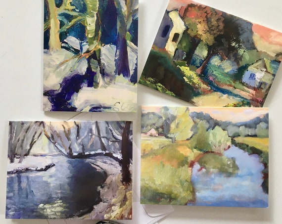 "Note Cards, Landscapes, Set of 4 Folded Note Cards – 5.5""x4"" and 4 envelopes. Images of plein air paintings – four seasons."