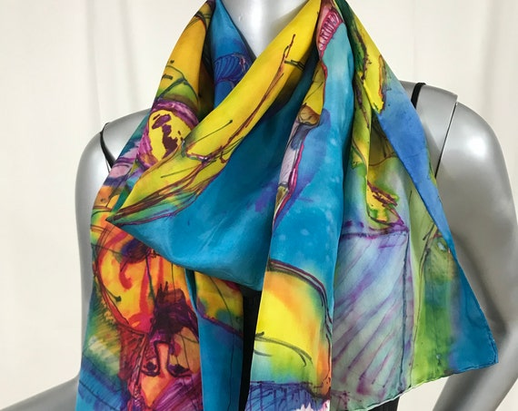 silk scarf, hand-painted figures, wearable art,