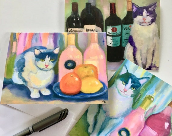 Note Cards. 3 still life paintings with cats and wine. Package of 3 different cards.