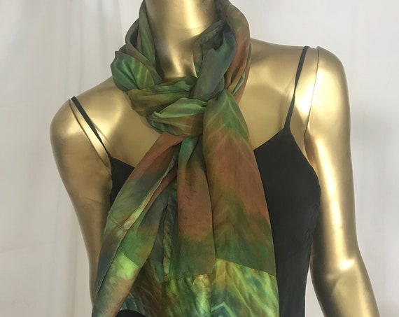 Silk scarf, Large, Chiffon Silk with Charmeuse Border, Green, Chartreuse, and brown