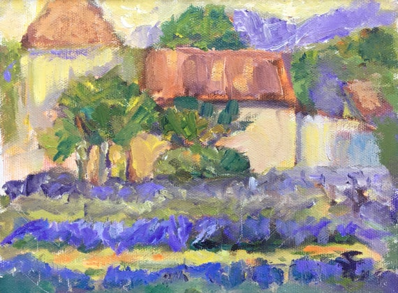 "Oil painting, 6 x 8"", original, framed, ""Lavender Farm"""