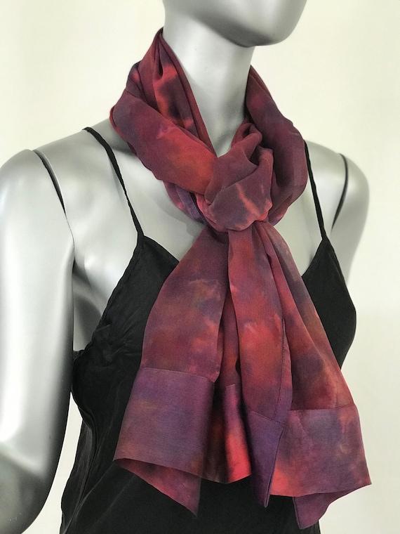 Silk scarf or shoulder wrap, chiffon w/charmeuse border, red