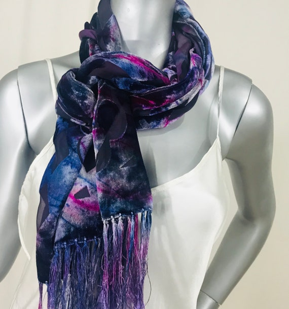 velvet silk scarf, Devore, Geometric pattern, silver gray, blue, pink, hand dyed and painted