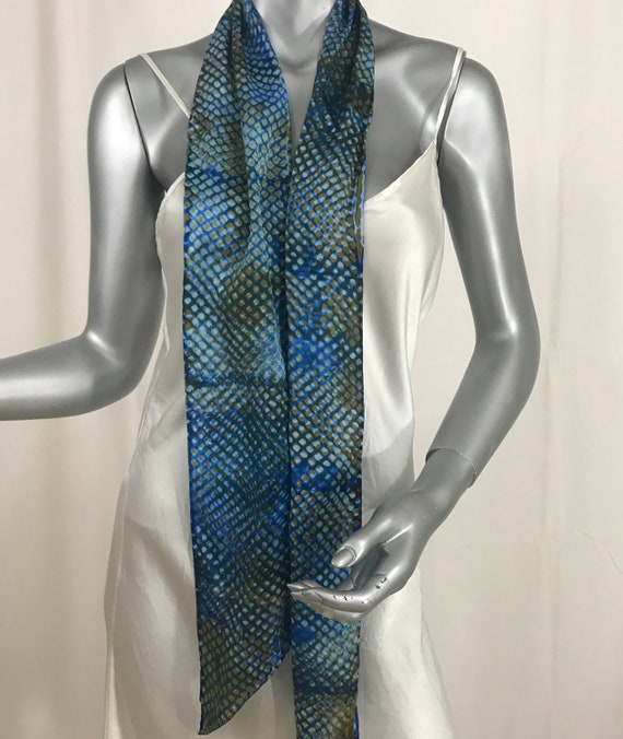 Silk scarf, hand dyed, blue and gold, ogee pattern