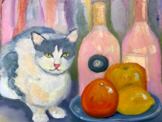 Oil Painting, still life with rosé wine, and cat. 16 x 20""