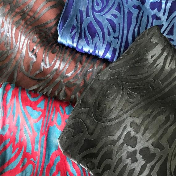 Devore scarf, silk rayon blend, art deco pattern