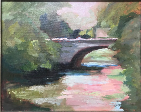 "Original Oil painting,"" Bridge at Sunset"""
