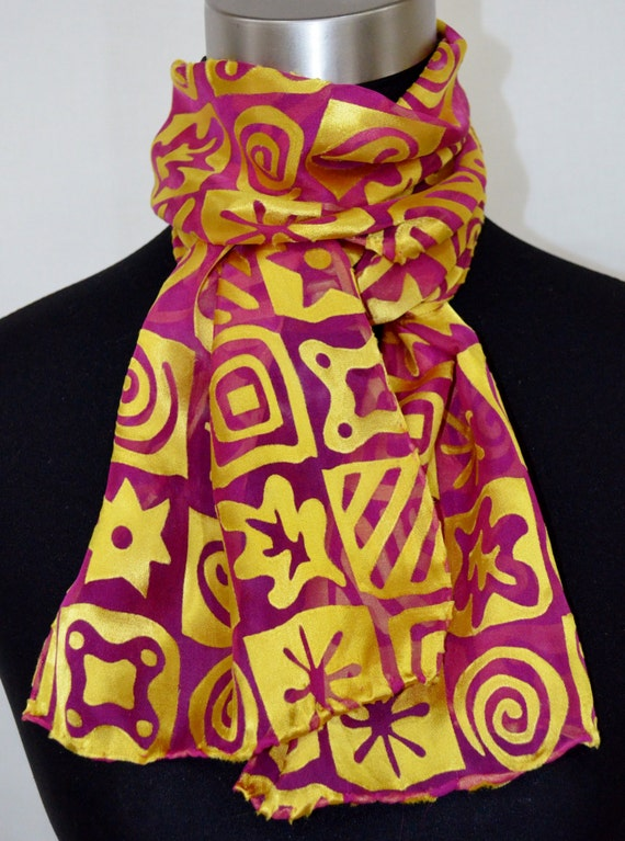scarf, silk and rayon devore, hand-dyed, hot pink and gold