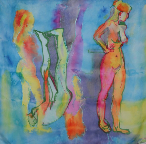 original painting on silk, female figures, one of a kind