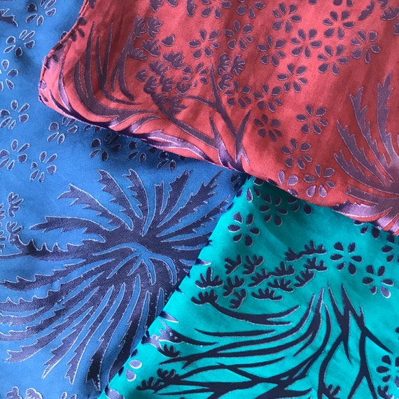 silk burnout scarf, Floral pattern,  hand-dyed, Purple over blue, purple over teal, or purple over burgundy