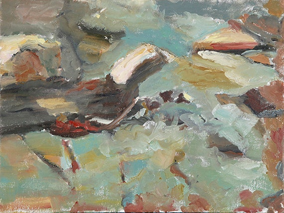Oil painting, landscape painting, Creek Bed, 12 x 16""