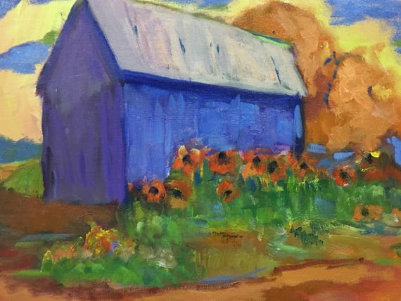 "original oil painting, barn with flowers, 12 x 16"", unframed, impressionistic"