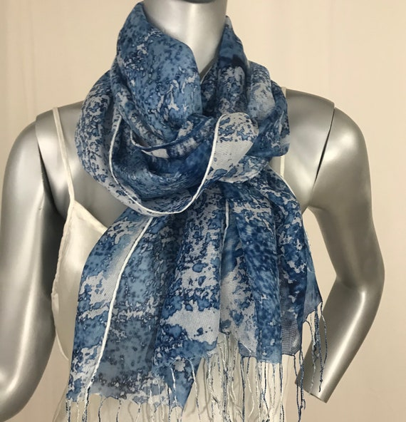Silk mesh scarf, blue and white floral , 3 inch fringe or Green and white
