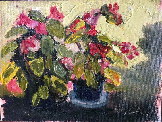 oil painting, red and green floral, original, 6 x 8""