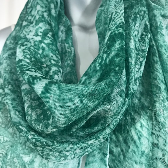 Silk mesh scarf, green abstract lace print, 3 inch fringe