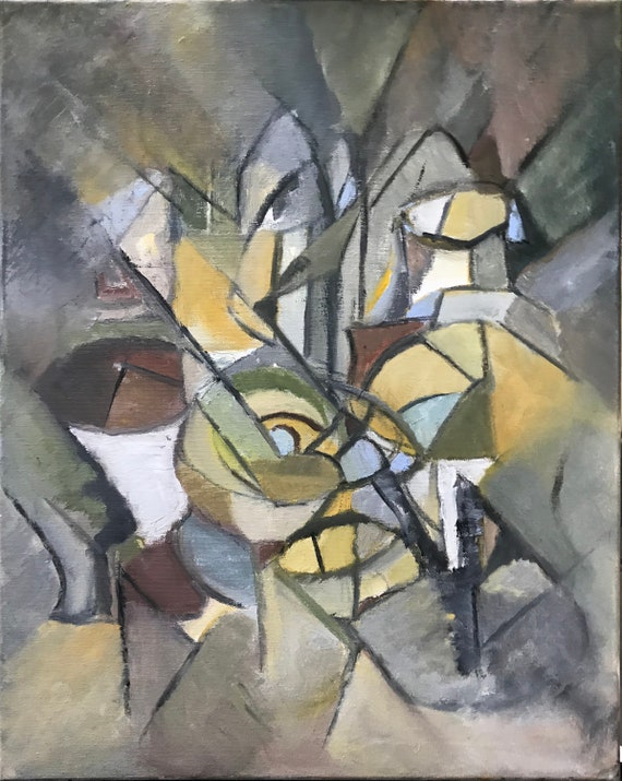 Abstract Oil Painting, cubism, grays and yellows,