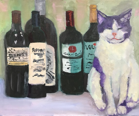 Cat jpg, digital download, oil painting jpg, artwork jpg, painting jpg, wall art, wine bottles