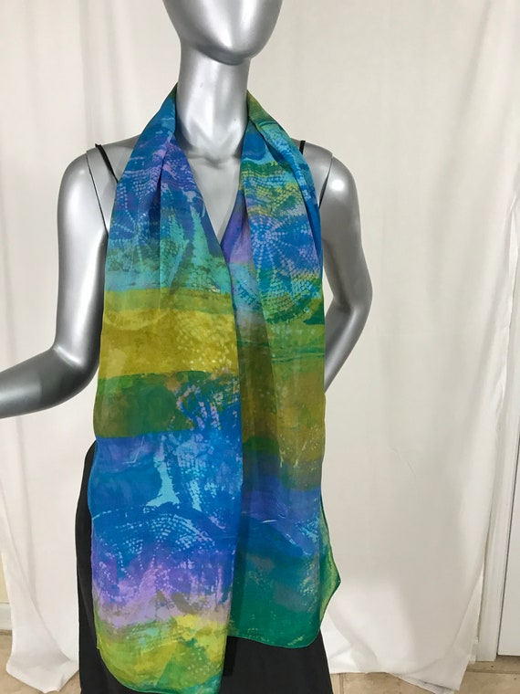 Silk Scarf, crepe de Chine silk, blue, green, and purple