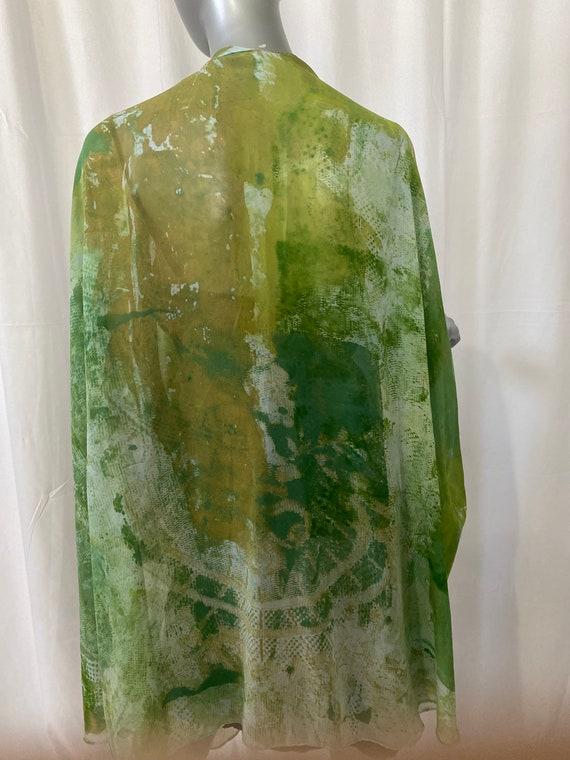 Silk cape or shoulder wrap, green ad white,crepe de chine