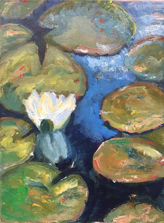 Lilly Pads, original oil painting, 9x12, unframed, en plein air