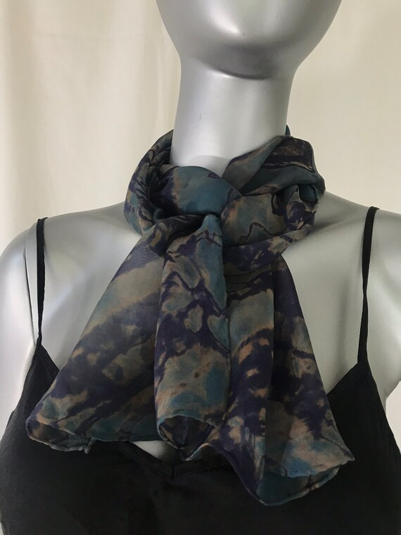 Rectangle silk scarf, blue, blue violet, and pale gold