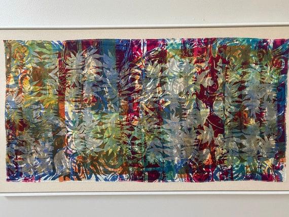 Fine art painting, white frame, large,