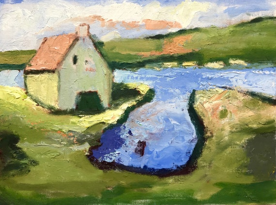 "Irish Barn scene original oil painting, 12 x 16"", unframed"