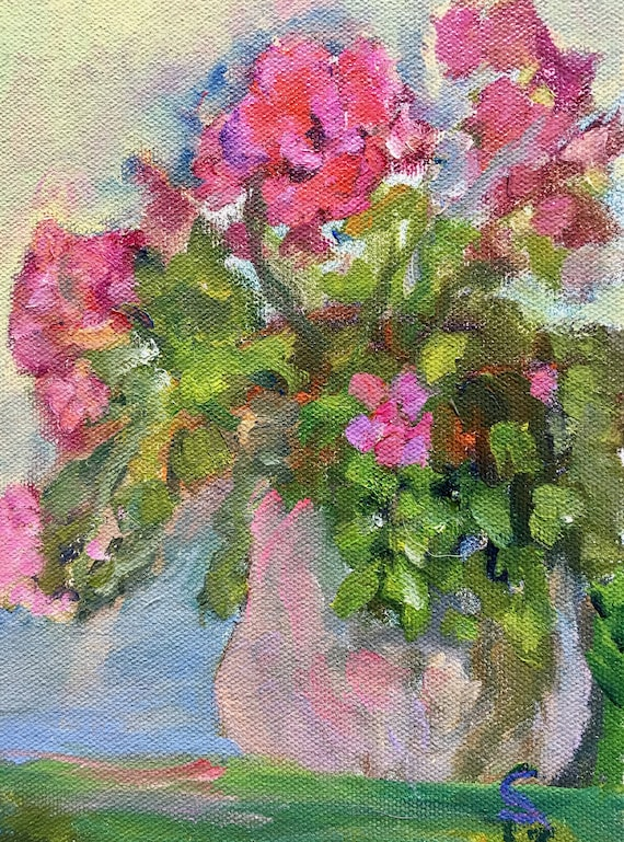 oil painting, red and green floral still life, original, 6 x 8""