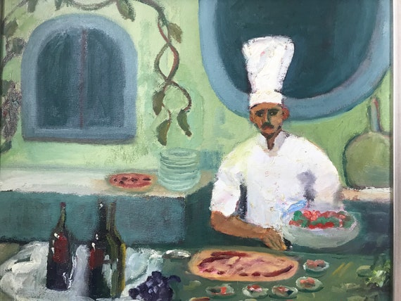 Pizza Kitchen, original oil painting, 16x20, unframed