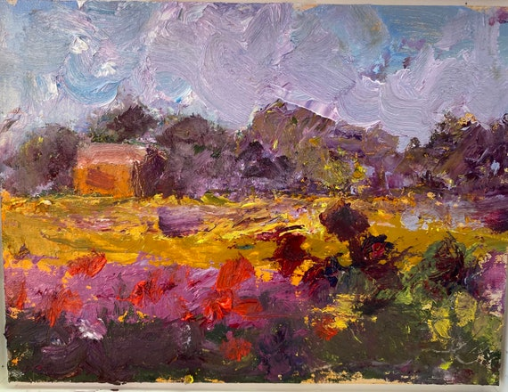 Small oil painting, abstract landscape, Art Farm