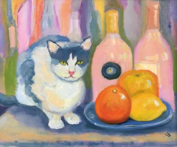 Cat jpg, digital download, still life, oil painting jpg, artwork jpg, painting jpg, wall art, wine bottles