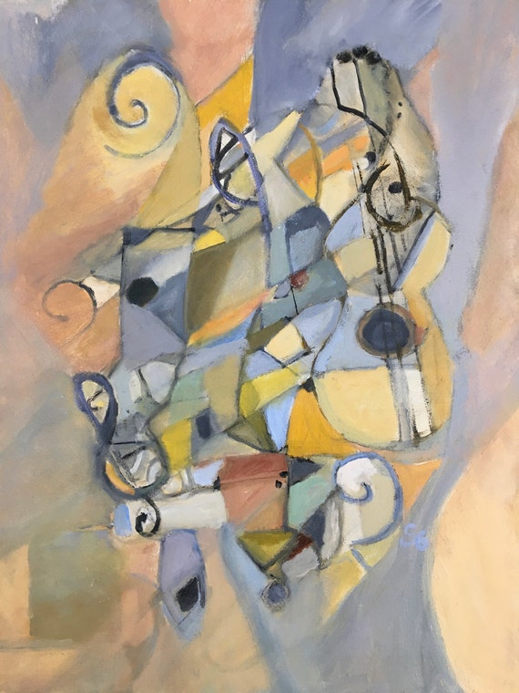 Abstract Oil Painting, cubism, Blues and yellows