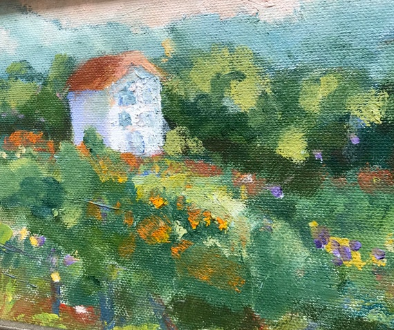 Oil painting, original small landscape with white farm house in France, 6 x 8""
