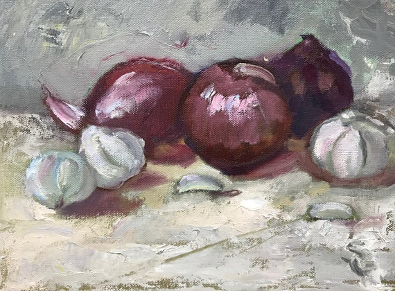 "Original oil painting, 12 x 9"", unframed, still life with red onions and garlic"