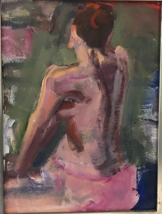 Original Oil Painting, Figure, Pink and green