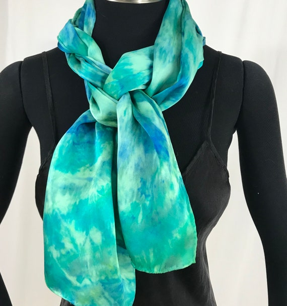 silk charmeuse scarf, Shibori dyed, Green and turquoise abstract
