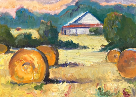 Landscape painting, oil, Indiana Harvest, 16 x 12""