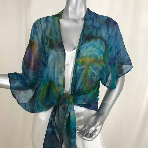kimono jacket, silk chiffon, hand painted and Shibori dyed