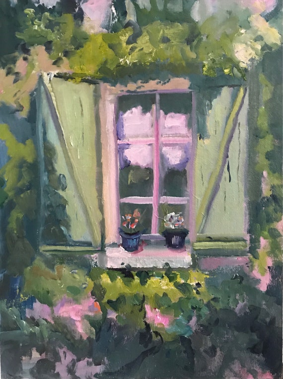 "0riginal oil painting 12 x 16"", Window in Monpazier, France."